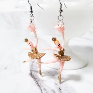 Vintage Ballerina Arcade Prize Kitsch Earrings